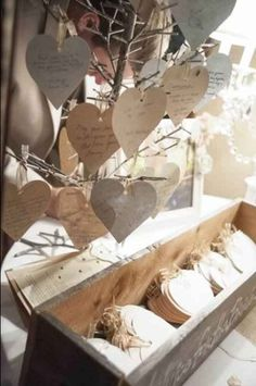 Hearts and wishing tree for advice for the bride and groom box