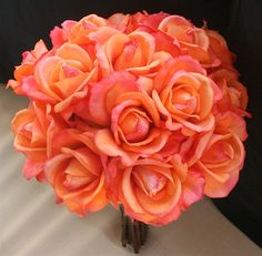 Natural Touch Orange Open Roses Bouquet - Add More Colors!