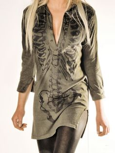 Skeleton shirt dress - I would totally wear this! *More Ashley Luke-wear Ciara would totally steal from her room*