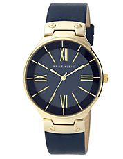 Ladies' Gold-Tone & Navy Watch with Leather Strap