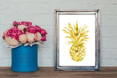 Pineapple Gold Faux Foil - Gold Foil Pineapple - Pineapple Art Print - Pineapple Decor - Pineapple Wall Art - Gold Room Decor by ModPopDeco on Etsy https://www.etsy.com/listing/237836698/pineapple-gold-faux-foil-gold-foil