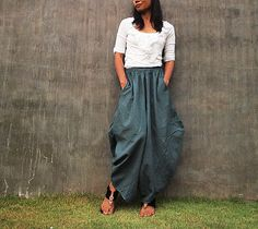 Origami long lounge pants ... linen/cotton ML by cocoricooo