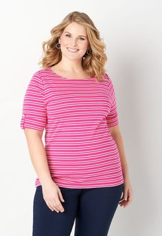 056ed34194 Stripe Elbow Sleeve Shoulder Detail Plus Size Boatneck - CBK Web Store