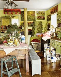 Found this romantic, cottage style art space on Countryliving.com. It looks fresh, rustic and peaceful.