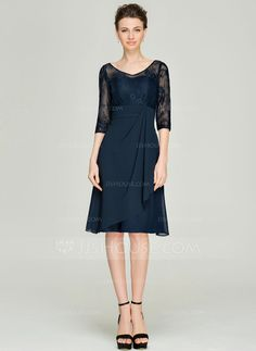 A-Line/Princess V-neck Knee-Length Cascading Ruffles Zipper Up Sleeves 1/2 Sleeves Yes 2015 Dark Navy Spring Summer Fall General Plus Chiffon Lace Mother of the Bride Dress