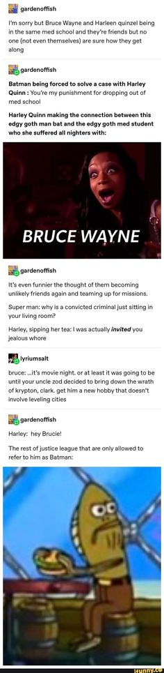 What if Bruce Wayne Batman and Harley Quinn would become friends Dc Memes, Marvel Memes, Marvel Dc Comics, Funny Memes, Hilarious, Jokes, Nananana Batman, Fandoms, Detective Comics