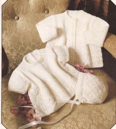 Vintage Knitted Baby Dress Coat and Bonnet Knitting by georgie8109, $2.25