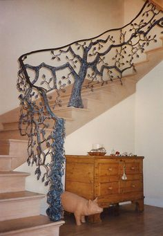 Hand Forged Tree Rail, stairway to another dimension.gliding through a Russian forest at twilight as the snow begins to fall. Cast Iron Garden Furniture, Home Decor Furniture, Staircase Railings, Stairways, Rustic Staircase, Winding Staircase, Banisters, Railing Design, Staircase Design