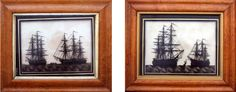 A Pair of Early Nineteenth Century English Reverse Paintings on Glass of HMS Hogue and HMS Euryalus, Circa 1811-20.