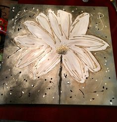 White flower on canvas painting