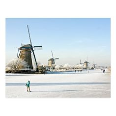 Shop Typically dutch ice skating at Kinderdijk Holland Postcard created by HollandProducts. Personalize it with photos & text or purchase as is! Places To Travel, Places To Visit, Snow Pictures, Holland Netherlands, Winter Scenery, Water Tower, Le Moulin, Travel And Leisure, Places