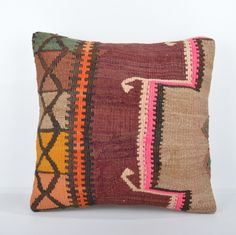 "Anatolian Mixed Kilim Pillow Cover 16"" (40 cm) Square Kilim Pillow Case"