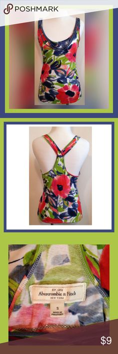 ABERCROMBIE AND FITCH RACERBACK TANK TOP GENTLY USED ABERCROMBIE AND FITCH RACERBACK FLORAL TANK TOP; SIZE SMALL Abercrombie & Fitch Tops Tank Tops