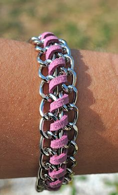 Chain & suede string DIY bracelet