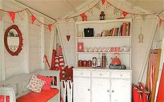 hut of choice Beach hut, red and white decor.Beach hut, red and white decor. Beach Hut Shed, Beach Hut Decor, Beach Huts, Beach Cottages, Red Home Decor, Cheap Home Decor, Beach Hut Interior, Summer Sheds, Summer House Interiors