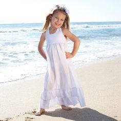 White Seersucker Halter Maxi Dress