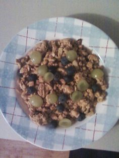 February 22, 2012 - Kashi toasted berry crumble cereal with grape halves.