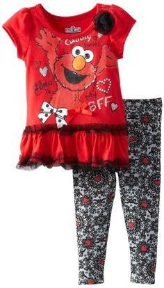 Sesame Street Elmo Baby Girls Ruffle Top with Leggings Set #YankeeToyBox #Elmo #SesameStreet