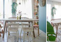 DIY pour fabriquer une table à manger rustique - Table pour salle à manger - 18h39.fr Diy Table, Dining Table, Grande Table A Manger, Island Bar, Table Vintage, Beautiful Color Combinations, Desks, Consoles, Islands