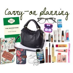 """""""Carry-on planning"""" by laura-caygill on Polyvore - how to just take a handbag as carry-on on a long-haul flight."""