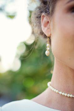 Beach Wedding Pearl Drop Earrings by ishkabibblesdesigns on Etsy, $27.00