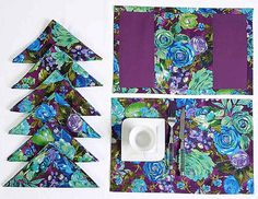 Luxury Napkin and Placemat Table Linens Set - Includes 6 Place Mats and 6 Napkins - Reversible - 100% Cotton - Purple, Blue and Green Rose * Startling review available here  : Kitchen Table Linens