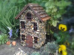 Stone Fairy Garden House with pinecone roof. Perfect for any whimsical Fairy or Gnome. The Liam House. Origami, Gnome House, Putz Houses, Fairy Garden Houses, Christmas Fairy, House Roof, Miniature Fairy Gardens, Fairy Land, Stone Art