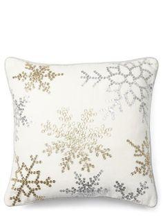 Cream Sequin Snowflake Cushion