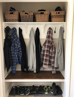 My amazing front entry way closet makeover for very little money. A great space with hooks for coats, baskets for storage and a nice bench to sit on. Closet Bench, Front Hall Closet, Closet Redo, Hallway Closet, Closet Ideas, Closet Renovation, Closet Remodel, Hall Closet Organization, Organization Ideas