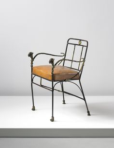 Diego Giacometti 'Têtes de lionnes' armchair, second version, circa 1969  Patinated bronze, wrought iron, leather.  81.3 x 55.9 x 57.2 ...