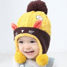 Apparel Accessories Smart Cute Baby Winter Hat Warm Child Beanie Cap Animal Cat Ear Kids Crochet Knitted Hat For Children Boys Girls Hot New 100% Guarantee Girl's Accessories