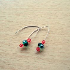 Sterling Silver with Green & Red Swarovski Crystals Earrings