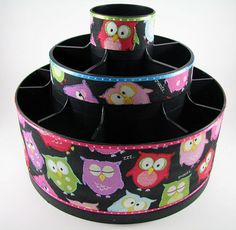 Sleepy Owls Altered Tool Caddy Storage Organizer by AllThatScrap, $35.00