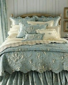 beautiful, blue bedding