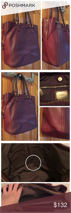 """Additional photos J. Crew Leather Tote Laptop Bag J. Crew Biennial Tote Laptop bag. Missing shoulder strap // 1/2"""" handle drop // Size: 13 1/2""""H x 12 1/4""""W x 5""""D // 100% Leather.Great condition.2stains on interior pictured.VERY clean other than those 2 marks.Was priced $348+shipping on the website.Now sold out.Extra photos on seperate listing.Padded interior pocket for laptop.Crafted in a pebbled leather gives the finish its pliable, supple feel and grainy consistency.15% off on bundles.Same…"""
