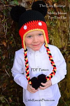 Mickey Mouse Character Hat Pattern * Crochet Design by April Burwick of TheCozyBuckeye