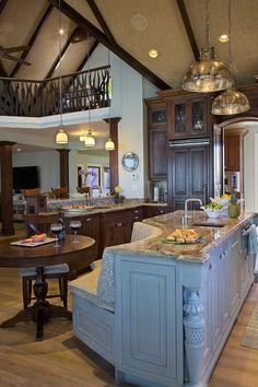 kitchen with blue island | D'Asign Source