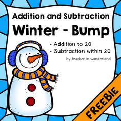 FREEBIE colorful winter bump game (addition and subtractio