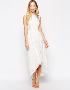ASOS | ASOS Premium Drop Hem Dress with Bird Embroidery at ASOS