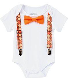 031c0c237839c Noahs Boytique Baby Boys Thanksgiving Fall Pumpkin Patch Picture Outfit  Argyle Suspenders and Orange Bow Tie