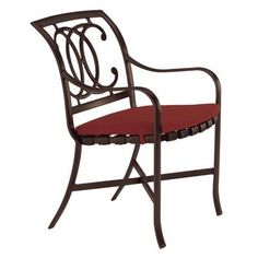 Tropitone Palladian Dining Arm Chair with Cushion Finish: Parchment, Fabric: Sparkling Water