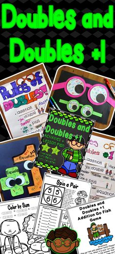 Doubles and Doubles Plus One Addition Fact Activities. Includes; Lesson Plan, Crafts, Centers, Games, Printables, Poems! Made by Emily Education!
