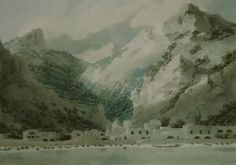 """John Robert Cozens (1752–1797, English, son of Alexander Cozens), """"Cetara on the Gulf of Salerno"""", 1790, watercolor over graphite, 36.8 × 52.7 cm (14.5 × 20.7 in), Current location: National Gallery of Art, Washington, DC"""
