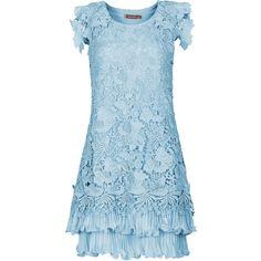 Jolie Moi Crochet Lace A-Line Dress (315 PLN) ❤ liked on Polyvore featuring dresses, clearance, pastel blue, pleated a line dress, pleated dress, blue a line dress, short sleeve chiffon dress and pleated chiffon dress