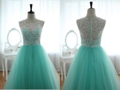 Lace Tulle Wedding Dress Prom Ball Gown Blue Tulle by wonderxue, $295.00