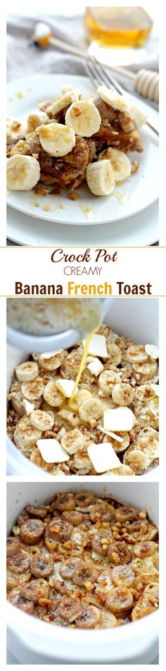 Crock Pot Creamy Banana French Toast | www.diethood.com | Full of amazing flavors, this French Toast is loaded with bananas and it's baked in the Crock Pot. Much easier than slaving over the stove! | #crock_pot #french_toast