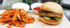 Gewoon wat een studentje 's avonds eet: Vega: Zelfgemaakte kikkererwtenburger met zoete aa...