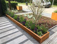 Modern Landscaping, Front Yard Landscaping, Farm Gardens, Outdoor Gardens, Steel Garden Edging, Cement Patio, Rectangular Pool, Landscape Design Plans, Backyard Patio Designs