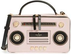 Kate Spade Leather Satchel, Handbag Pink Boombox Bag, Adjustable Crossbody Strap #KateSpade #Satchel