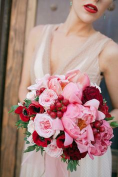 vibrant pink and red bouquet photographed by Imaginale Designs